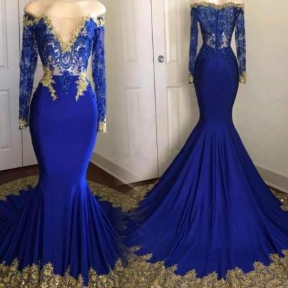 Long Sleeve Royal Blue Prom Dress w..
