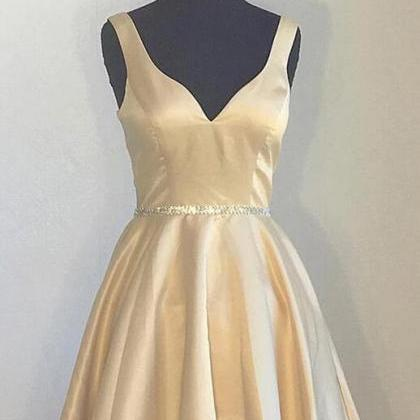 V Neck Simple Champagne Satin Bride..