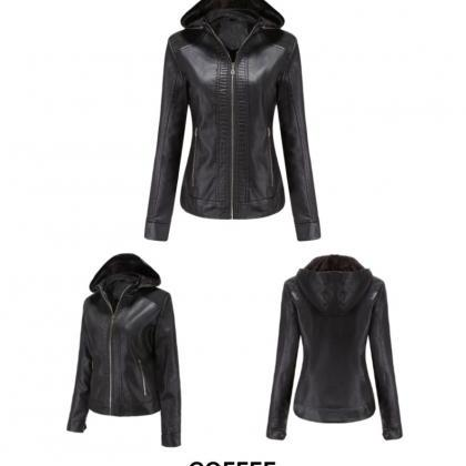 Women Moto Bike Leather Jacket with..