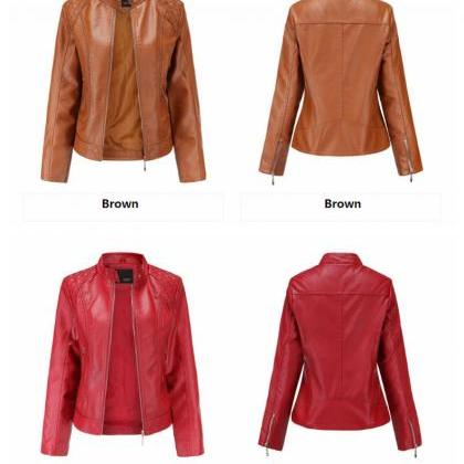 2020 Fall Spring Women Jacket PU Le..