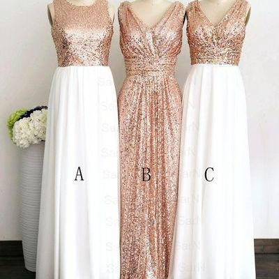 Shiny Sequins Long Bridesmaid Dress..