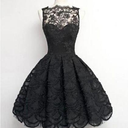 Black lace Ball Gown Lace Short Pro..