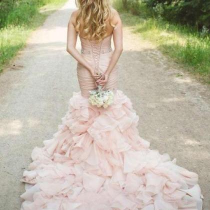 Real Image Blush Pink Mermaid Weddi..