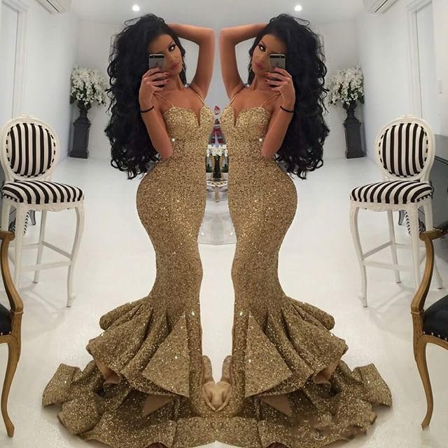 c8a4815c934fd4 New Designer Bling Gold Sequins Mermaid Prom Dresses 2018 Spaghetti Open  Back Ruffles Sweep Train Evening
