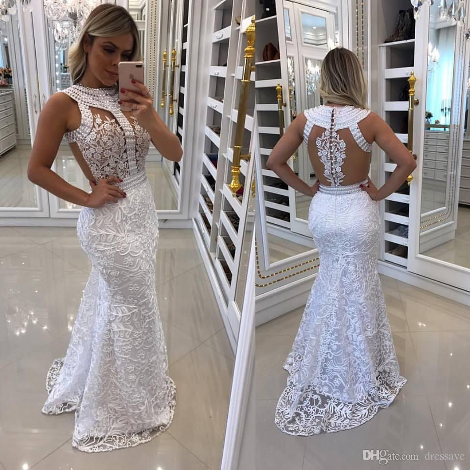 9c2d6dd039ae African Style Crystal Prom Party Dresses 2018 White Sexy Hollow Back  Mermaid Women Evening Pageant Dress
