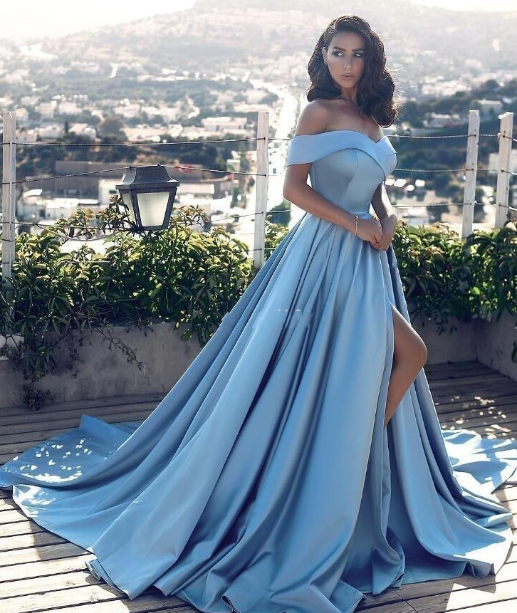 New Sexy Sky Blue A Line Off The Shoulder Evening Dress Side Split Prom  Dresses Satin 44687a3a6