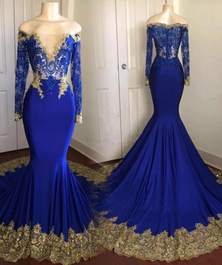 Long Sleeve Royal Blue Prom Dress with Golden Lace Appliques Formal Women Evening Dresses