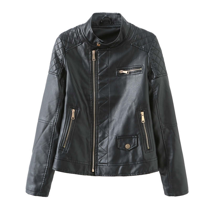 2020 Fall Winter Women Moto Bike PU Leather Jacket Zipper Closure with Full Sleeve