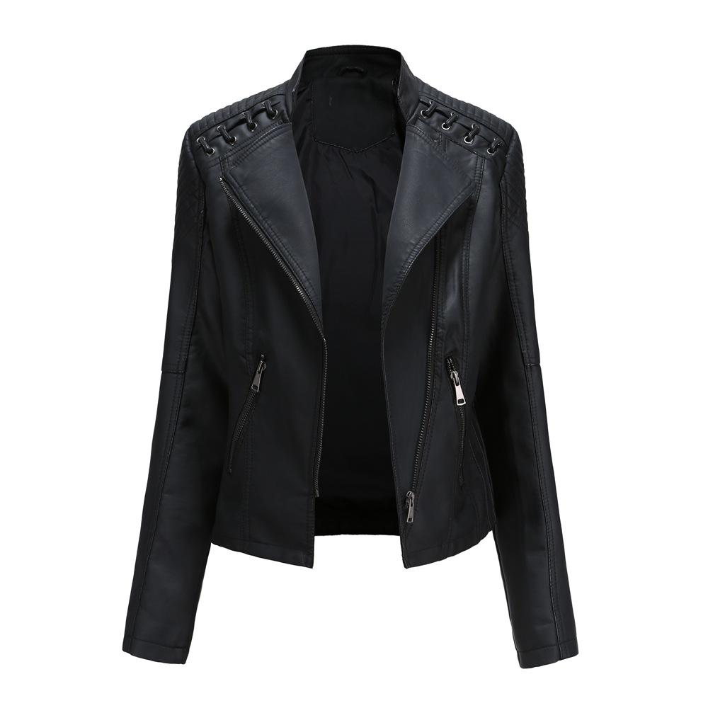 2020 Fall Winter Women Slim PU Jacket Leather Coats Zipper Closure Short Moto Bike Cool Jackets Outwear