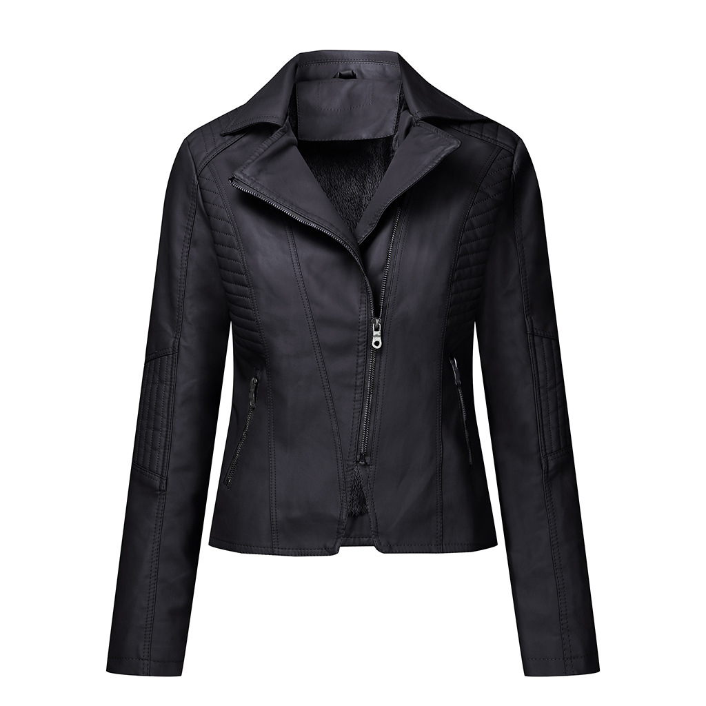 2020 Winter Moto Bike PU Leather Jacket for Women Short Slim Plus cashmere Lady Coat Clothing
