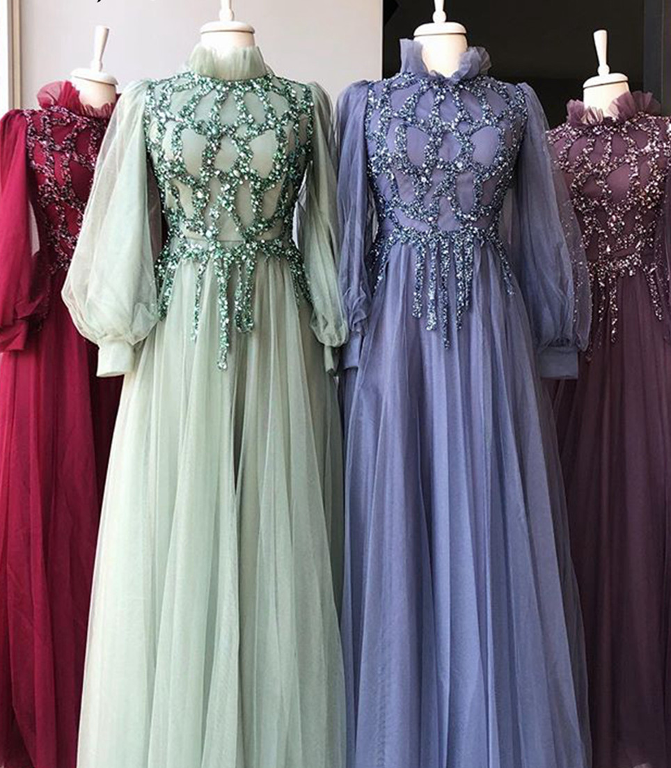Red/ Green/ Lilac Elegant Muslim Women Prom Dress with Long Sleeve Beaded Top High Neck Floor Length Vintage Party Dresses