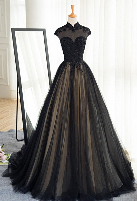 Sexy Sheer Black Long Prom Evening Dresses High Neck Cap Sleeve Lace Women Formal Dress