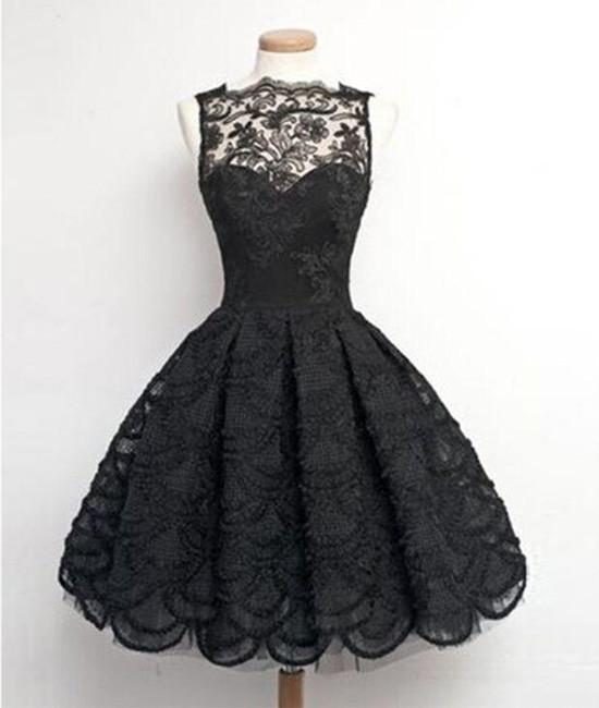 Black lace Ball Gown Lace Short Prom Dress, Homecoming Dress