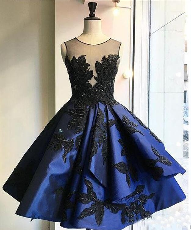 Sexy Sheer Black Lace Prom Dresses 2017 Illusion Neck Short Party