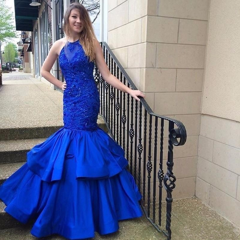 1c43395445d7 Illusion Halter Prom Dresses 2017, Sexy Mermaid Royal Blue Satin Party  Dresses, Long Appliques Mermaid Prom Dresses, 2017 Sexy Sleeveless Sheer Prom  Dress, ...