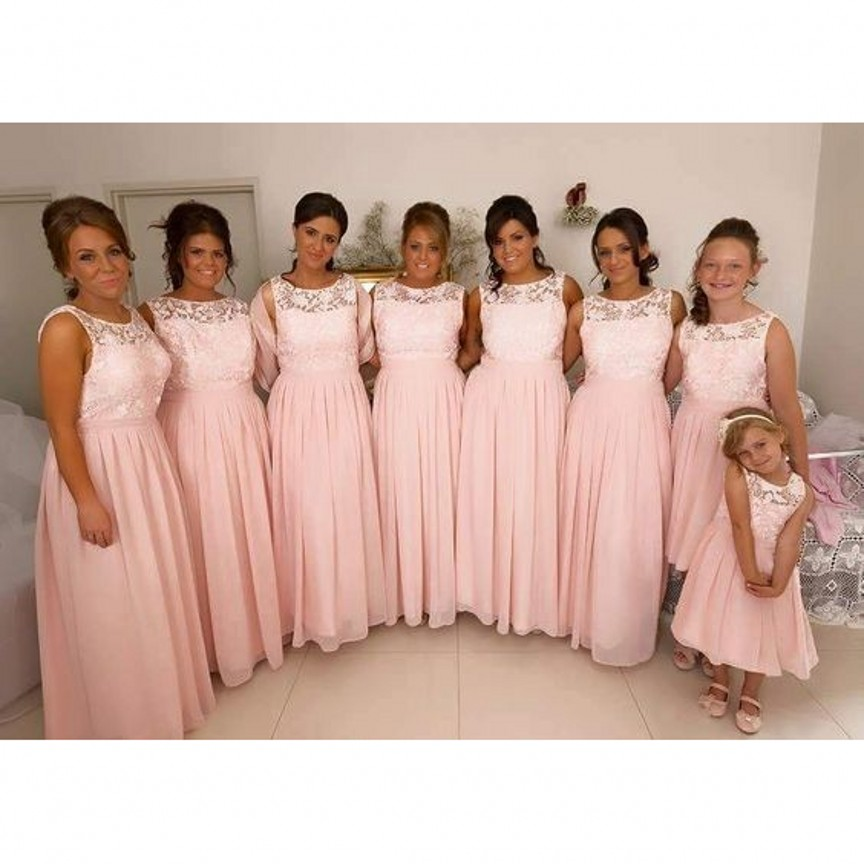 Pink Lace Bridesmaid Dress Long Chiffon Bridesmaid Dress Cheap