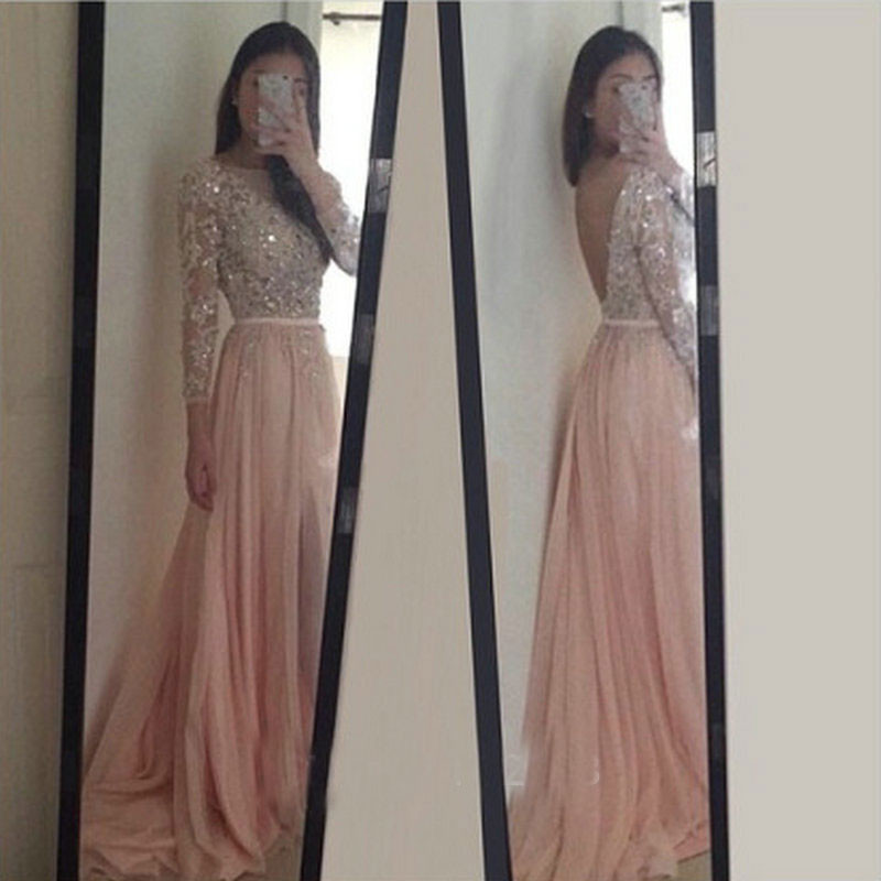 Long Sleeve Prom Dress, Sexy Backless Long Pink Party Dress, 2017 ...