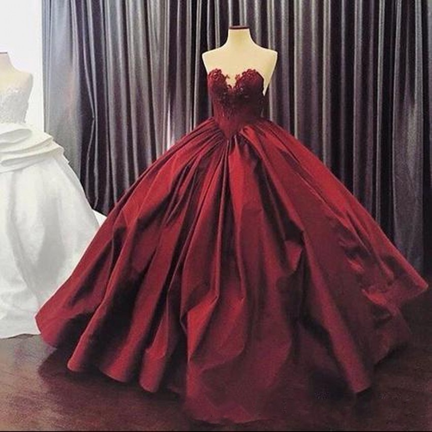 Burgundy Quinceanera Dresses 2017 Puffy Ball Gown Lace