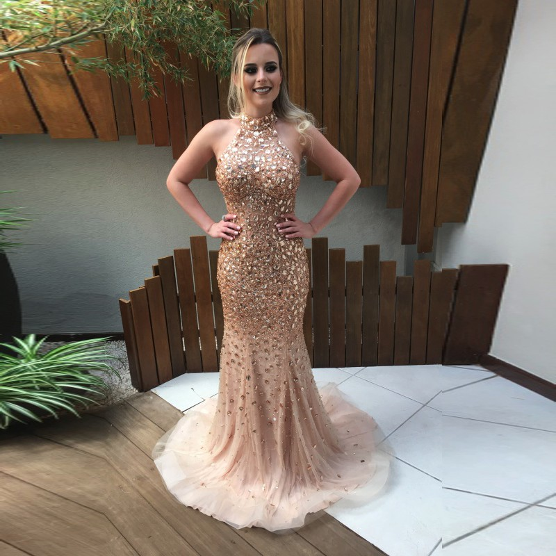 85f5dd1e59f7 2017 Gold Crystal Prom Dress Sexy Halter Mermaid Long Party Dresses Shiny  Beaded SequinsOff The Shoulder