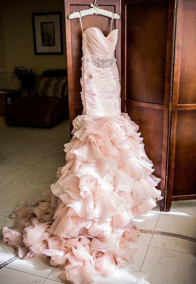 Real Image Blush Pink Mermaid Wedding Dresses Sweetheart Tiered Layered Organza With Bling Crystal Belt Lace Up Back Bridal Gowns