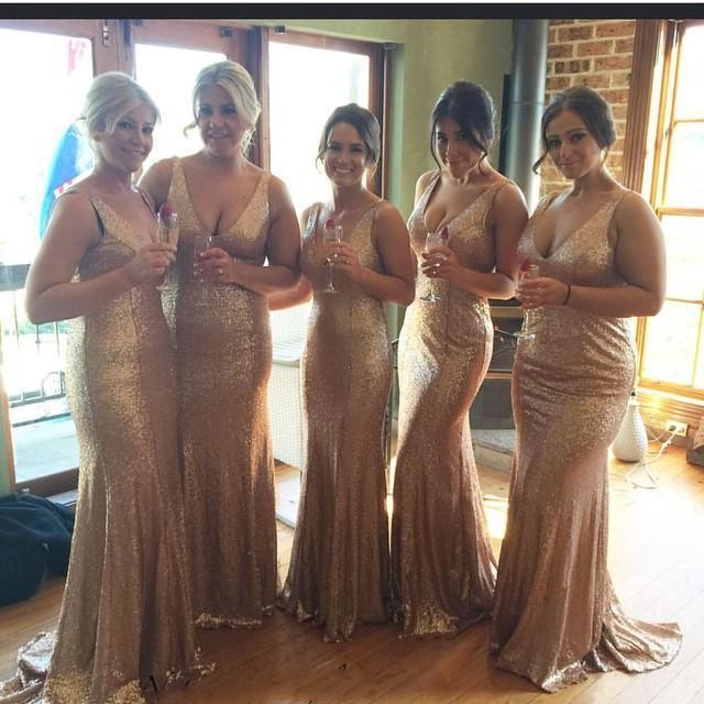 2b73c2c897b 2017 Champagne Sequins Sparkling Cheap Bridesmaid Dresses Backless Sexy V  Neck Sleeveless Plus Size Mermaid Maid of Honor Gowns