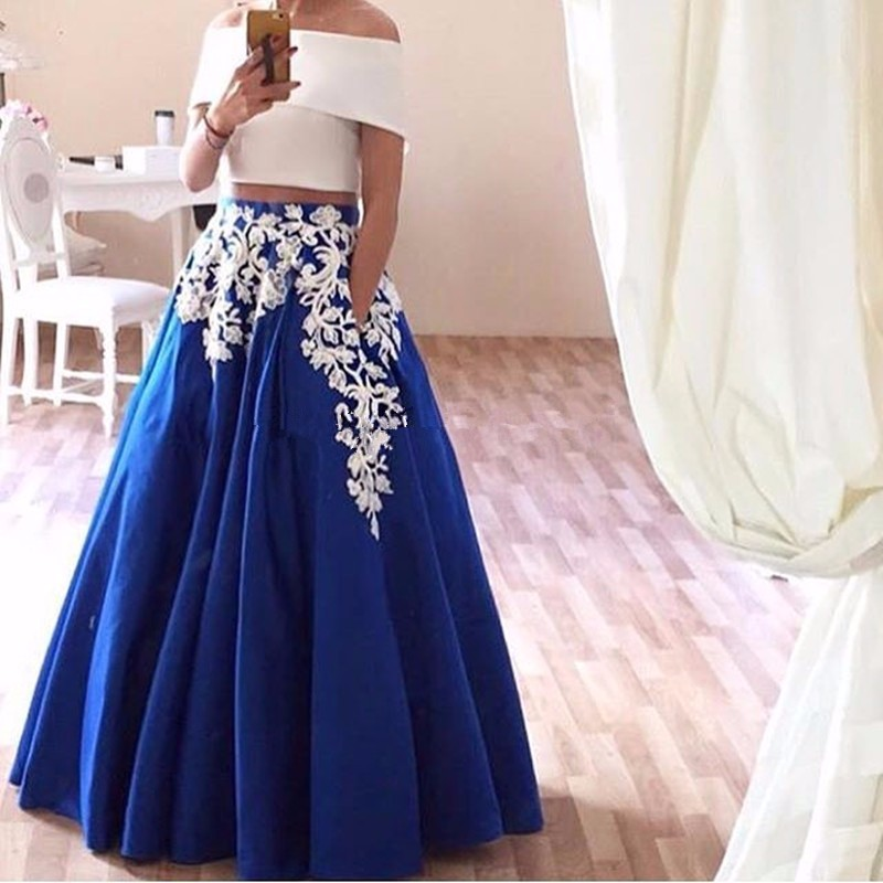 6fd608223d26 Elegant Royal Blue Satin Prom Dresses Sexy Off The Shoulder Two Pieces  Party Dress With White Appliques 2017 Vestidos De Festa