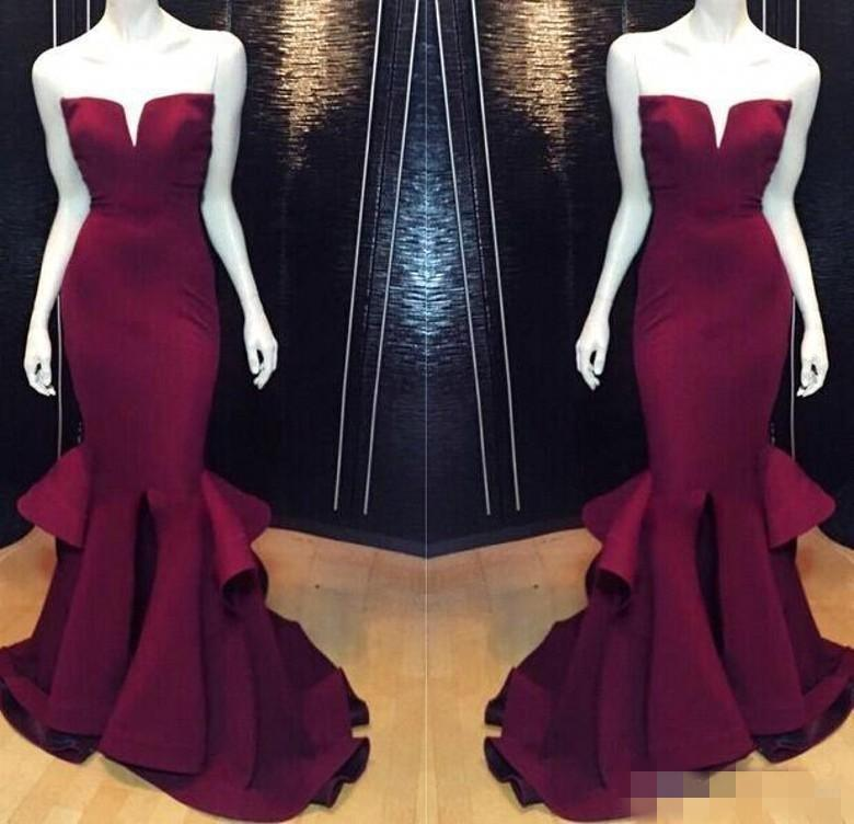 Cheap Sexy 2017 Mermaid Prom Party Dresses Burgundy Grape Formal Pageant Evening  Dress Long Satin Plus dc96ef04a188