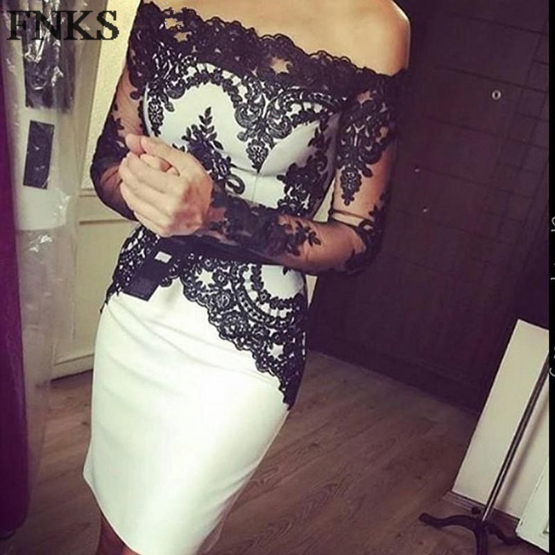 a3ed21accc Sexy Black Lace Cocktail Dress Long Sleeve Off The Shoulder Prom Dress Knee  Length Sheath Slim