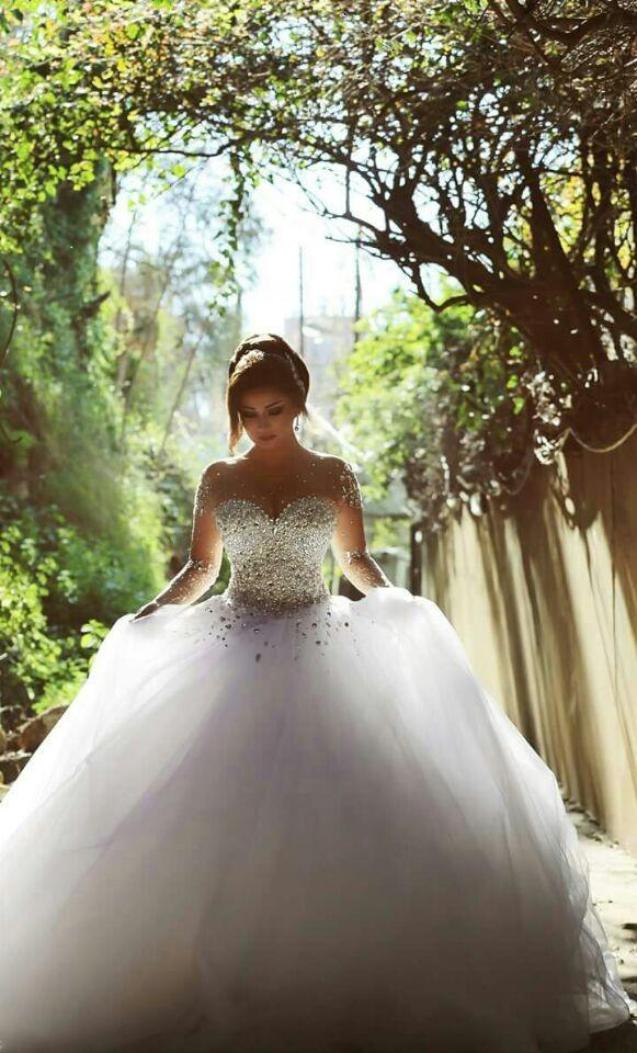 2017 Long Sleeve Wedding Dresses with Rhinestones Crystals Backless Ball  Gown Wedding Dress Vintage Bridal Gowns Spring Quinceanera Dresses 2c8604d8c1f5