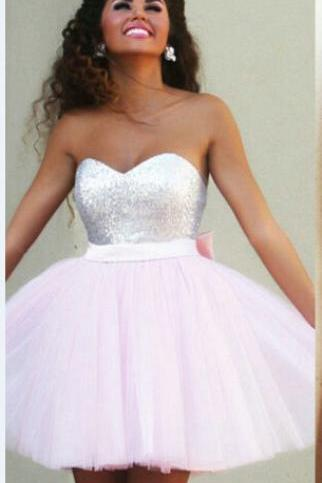 Custom Made Strapless Sweetheart Neckline Sequin Tulle Evening Dress, Homecoming Dresses, Graduation Dresses, Cocktail Dresses