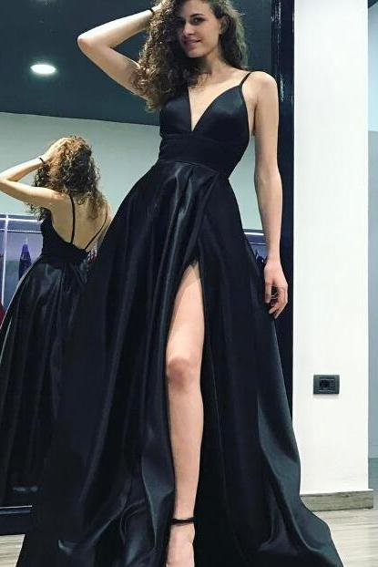 2018 Black Deep V-Neck A-Line Evening Gowns Spaghetti Straps High Slits Long Backless Court Train Satin Formal Evening Dresses