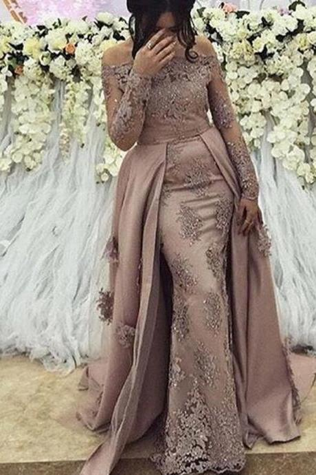 New 2020 Formal Evening Dress Long Sleeve With Detachable Skirt Lace Arabic Muslim Women Prom Dress Pageant Gowns