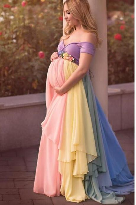 New 2020 Maternity Prom Dress Sexy Off The Shoulder Rainbow Color A Line Chiffon Corest Backdrop Empire Waistline Long Party Dress for Pregnant Women