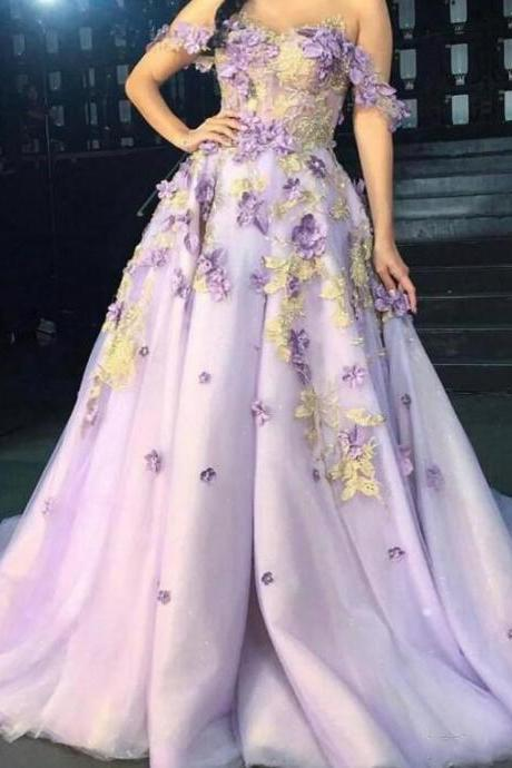 Elegant Lavender Prom Dress With Hand Made Flowers A Line Tulle Sexy Off The Shoulder Corest Backdrop Pageant Party Dresses