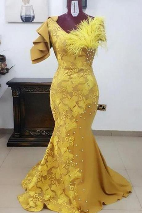 2020 New Yellow African Prom Dress Sexy Mermaid Lace Evening Dress Vestidos De Festa Feather Formal Party Dress