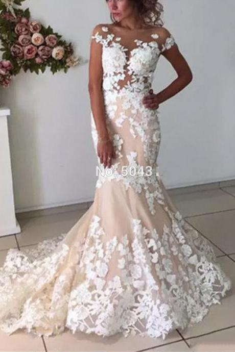 Sheer Wedding Dress With Cap Sleeve Sexy Backless Mermaid Long Lace Champagne Marriage Bridal Gowns