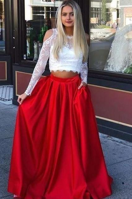 Two Pieces White Lace Red Skirt Prom Dresses Long Satin A Line Floor Length Formal Women Party Dress Custom Made