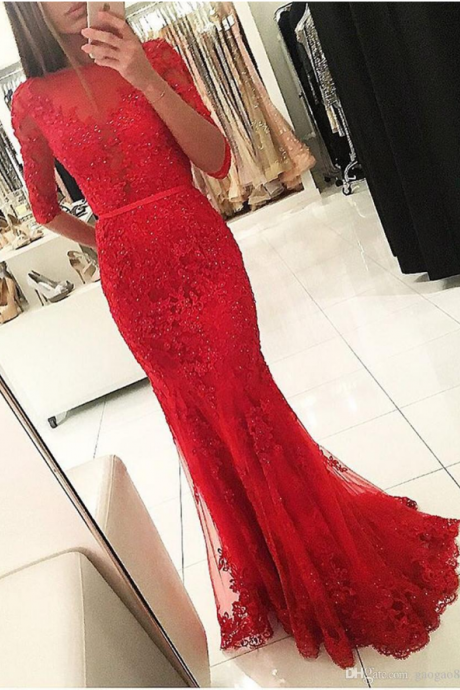Sexy Mermaid Sheer Red Lace Long Evening Prom Dress With Half Sleeve Open Back Sweep Train Formal Gowns