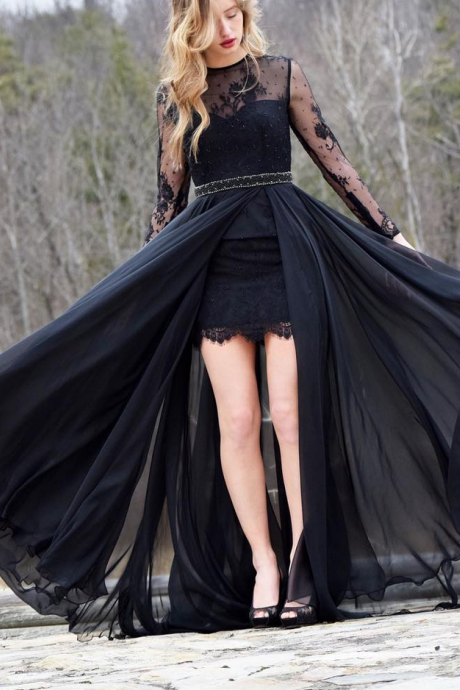 Sexy Illusion Black Lace Prom Dress Long Sleeve A Line Chiffon See Through Sheer Party Dresses Vestidos De Festa