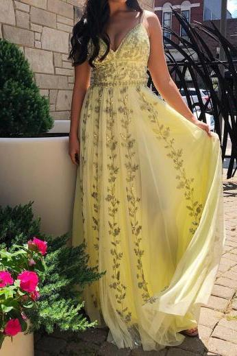2020 Long Baby Yellow Prom Dresses Sexy V Neck Spaghetti Strap A Line Chiffon Formal Women Appliques Party Dress Gowns Custom