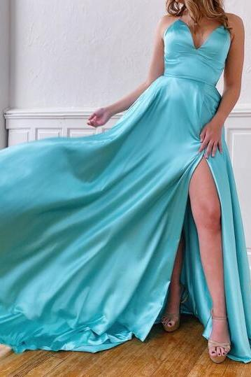Simple Design Sexy Blue Prom Dresses 2020 Split Side Spaghetti Strap Satin Long Women Party Dress Formal Gowns
