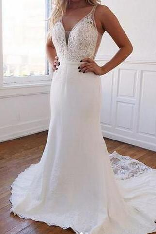 Sexy V Neck Long White Mermaid Lace Wedding Dresses Bridal Gowns With Button Illusion Back Court Train
