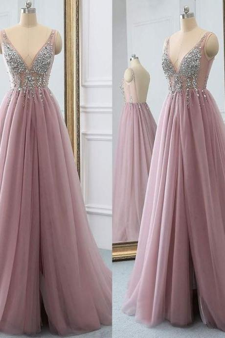 Sexy V Neck Long Pink Prom Dresses Shiny Crystal Open Back Split Side A Line Tulle Vintage Party Gowns