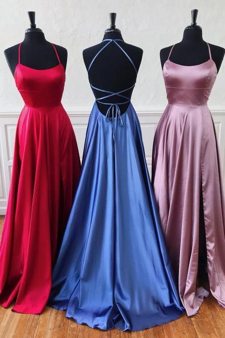 Cheap Red Blue Pink Long Sexy Prom Dresses Split Side Halter Cross Back Formal Women Party Dress Gowns