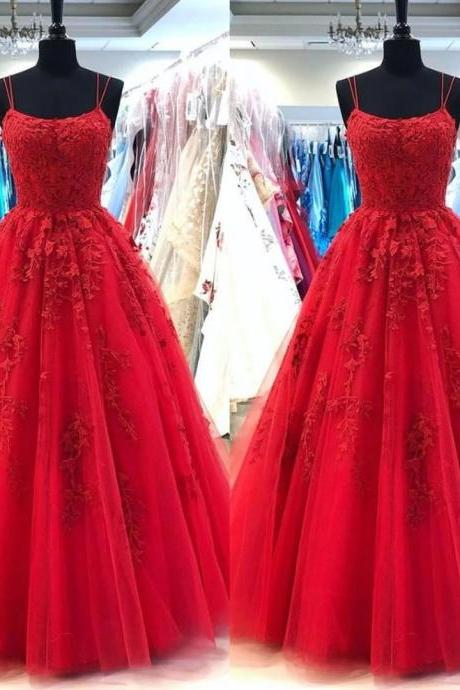 Red Lace Long Sexy Prom Dresses A Line Spaghetti Strap Floor Length Backless Pageant Formal Dress