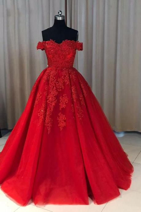 Off The Shoulder Sexy Red Prom Dresses 2020 New Women Party Dress A Line With Lace Appliques Floor Length