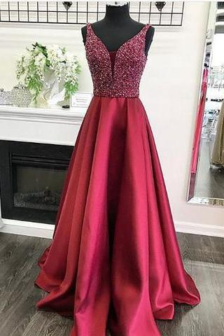 Sexy V Neck Red Long Prom Dress Luxury Beaded Crystal A Line Formal Women Party Dresses Custom Made