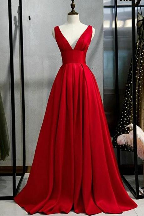 Sexy V Neck Long Red Prom Party Dress for Women A Line Floor Length Custom Made