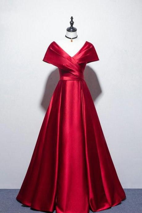 Sexy V Neck Long Red Satin Prom Dresses Cap Sleeve A Line Formal Women Evening Party Dress