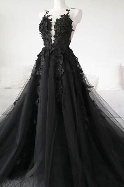 Sexy Sheer Black Long Prom Dresses Illusion Back A Line Floor Length Formal Women Party Dress